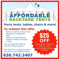Party Tents, Tables, Chairs & More. $25 off Coupon